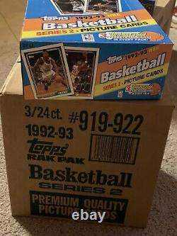 1992-93 Topps Basketball Rack Pack Case Shaq Rc-3 Gold Per Pack-factory sealed