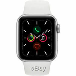 New Apple Watch Series 5 (GPS, 40mm) Silver Case White Band Factory Sealed