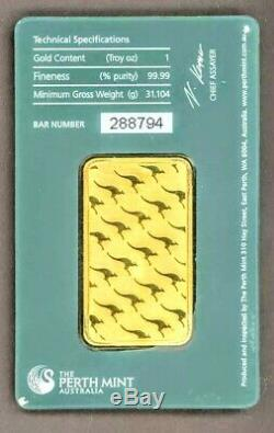 Perth Mint 1 Troy oz. Gold Bar in Factory Sealed Tamper Proof Security Case #102
