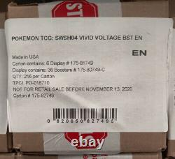 Pokemon Vivid Voltage Booster Box Factory Sealed Case 6 Boxes 36 Packs Each